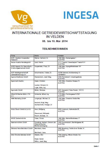 Ingesa Teilnehmerverzeichnis 2014